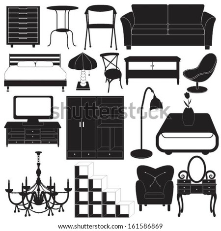 Home Furniture Icons Vector Set
