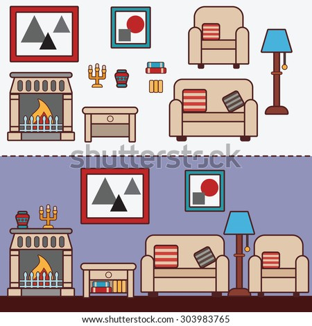 Home furniture. Interior design. Decorating zone of rest and sleep. Vector flat illustrations - stock vector