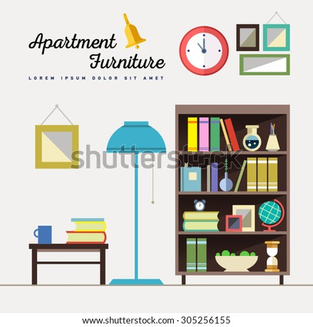 Home furniture. Interior design. Set of elements: bookcase, clock, lamp, globe, flowers, journal table, cup, books, pictures. Decorating zone . Vector flat  illustrations.  - stock vector