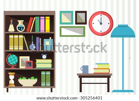 Interior Design Set Of Elementsbookcase Clock Lamp