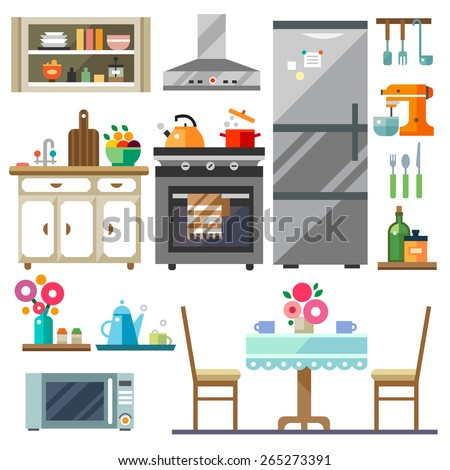 Home furniture. Kitchen interior design.Set of elements:refrigerator, stove, microwave,cupboards, dishes, table, chairs. Vector flat illustration  - stock vector