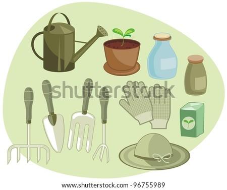 Home gardening set - stock vector