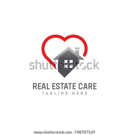 Red blue home heart care logo stock vector 655239745 for Minimalist house logo