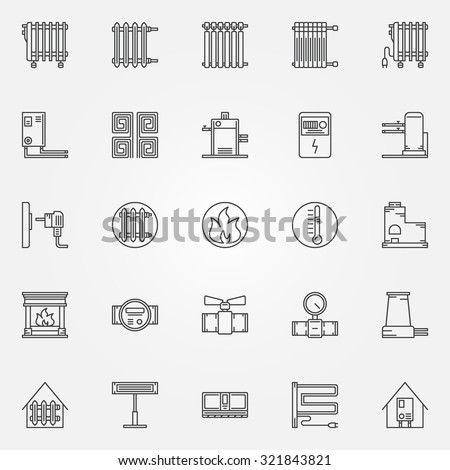 Home heating icons set - vector collection of outline heating systems symbols or signs - stock vector