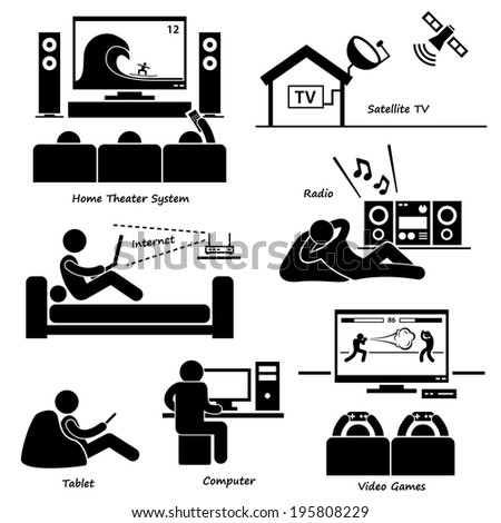 Home House Entertainment Electronic Appliances Stick Figure Pictogram Icon Cliparts - stock vector