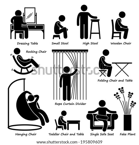 Home House Furniture and Decorations Stick Figure Pictogram Icon