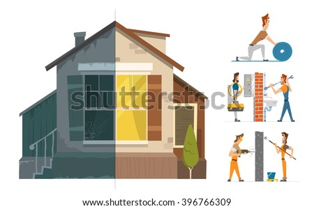 Home house repair renovation service. Before and after creative concept. Color vector illustration. - stock vector