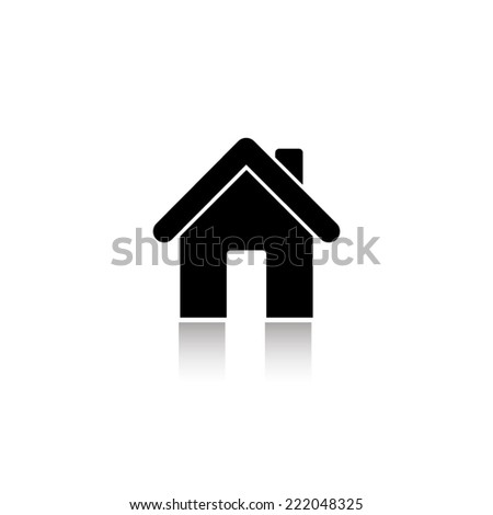 Home icon - black vector illustration with reflection - stock vector