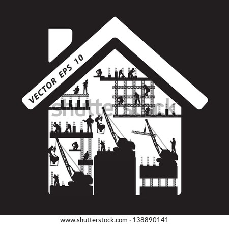 Home icon construction worker silhouette at work, Vector illustration template design - stock vector