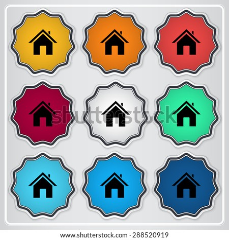 Home icon. Flat design style. Made vector illustration. Emblem or label with shadow. - stock vector