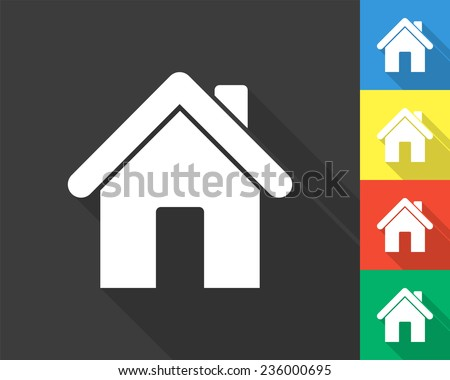 home icon - gray and colored (blue, yellow, red, green) vector illustration with long shadow - stock vector