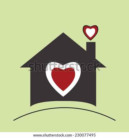 Home icon (I love my home) - stock vector