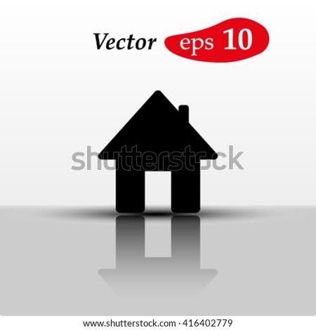 Home icon.Mirror reflection - stock vector