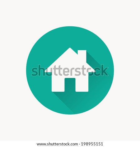 Home icon , Vector illustration flat design with long shadow - stock vector
