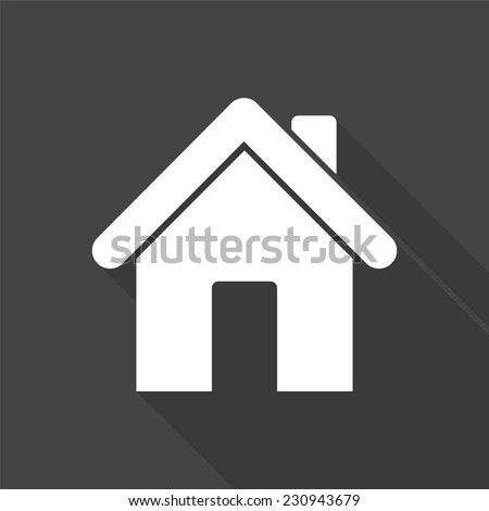 home icon - vector illustration with long shadow isolated on gray  - stock vector