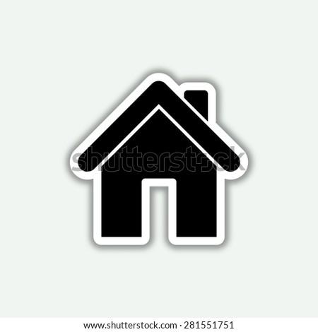 home icon - vector sticker - stock vector
