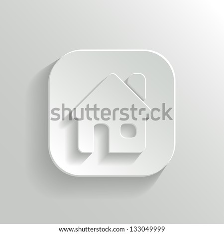 Home icon - vector white app button with shadow - stock vector