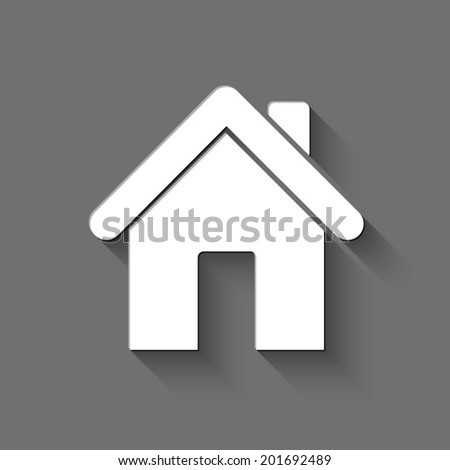 home icon - white vector illustration with shadow on gray background - stock vector