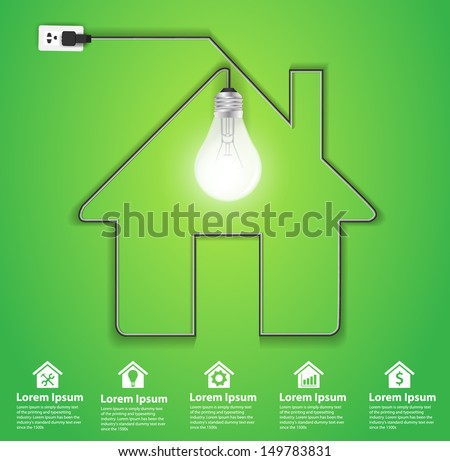 Home icon with creative light bulb abstract infographic modern design template workflow layout, diagram, step up options, Vector illustration template design - stock vector