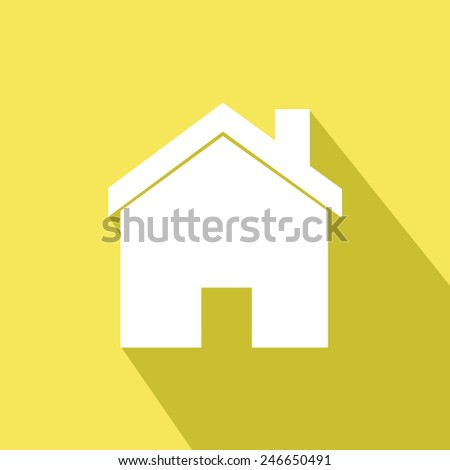 home icon - yellow . Vector illustration with long shadow. Eps 10. - stock vector
