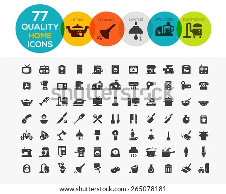 Home Icons including: home appliances, cleaning, kitchen utensil, lighting and electronics  - stock vector