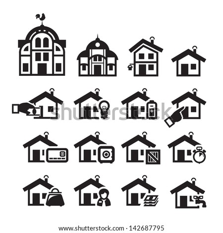 Home icons. Vector illustration - stock vector
