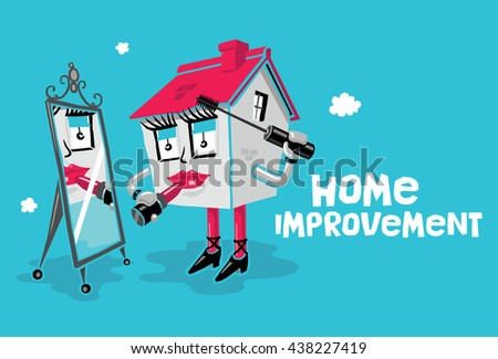 Home Improvement Concept: Cartoon House Applying Makeup (Lipstick and Mascara) While Looking in a Mirror. Blue Background with 'Home Improvement' Text. - stock vector