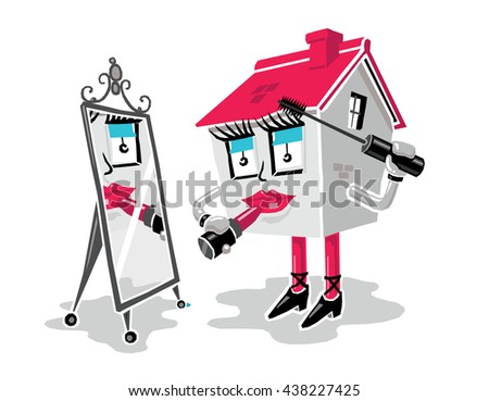 Home Improvement Concept: Cartoon House Applying Makeup (Lipstick and Mascara) While Looking in a Mirror. White Background. - stock vector