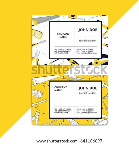 Home improvement corporate business card repair stock vector home improvement corporate business card with repair tools house construction id template renovation background wajeb Choice Image
