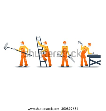 Home improvement workers. Construction workers, volunteers in jumpsuit, builders at work - stock vector