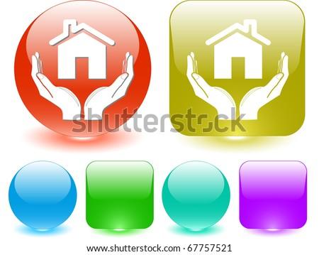 home in hands. Vector interface element. - stock vector