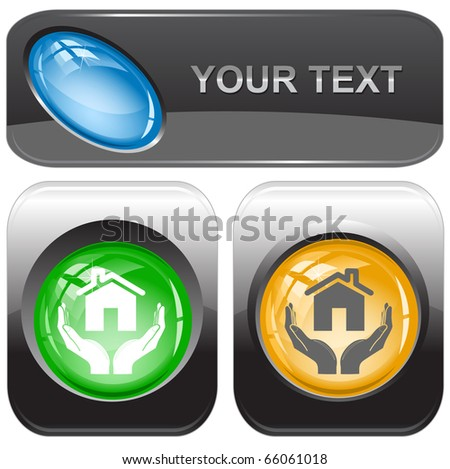 home in hands. Vector internet buttons. - stock vector