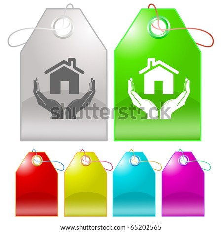 home in hands. Vector tags. - stock vector