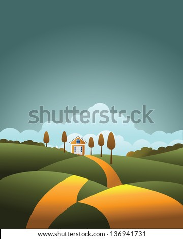 Home in the distance background. EPS 10 vector, grouped for easy editing. No open shapes or paths. - stock vector