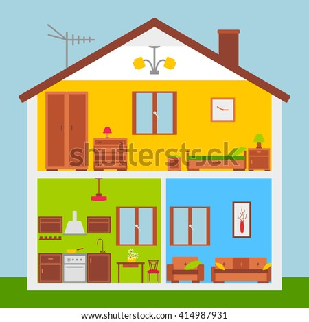 House Cut Detailed Modern House Interior Stock Vector 214407568