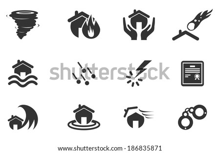 Home Insurance Icons - stock vector