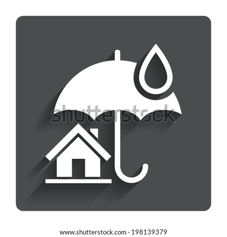 Home insurance sign icon. Real estate insurance symbol. Gray flat button with shadow. Modern UI website navigation. Vector