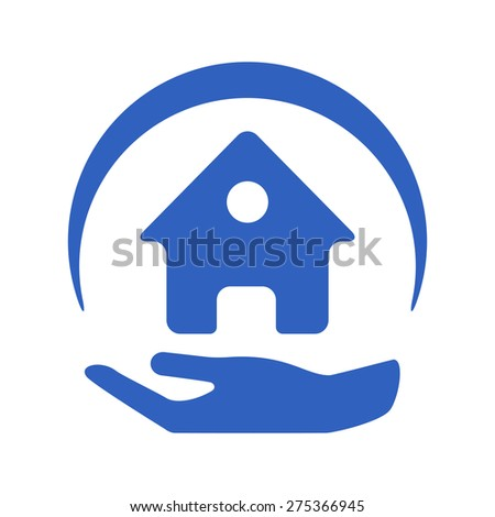 Home insurance vector logo with house and hands  - stock vector