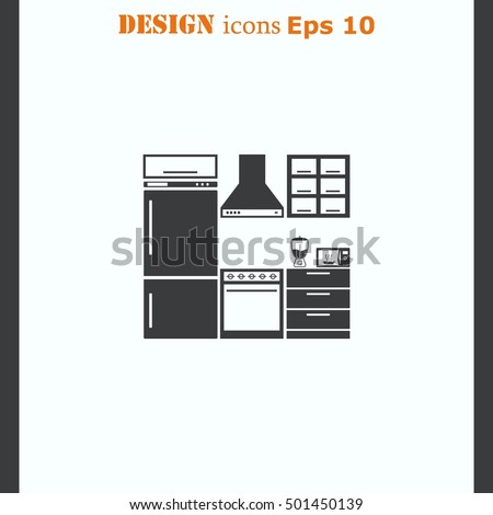 Exceptional Home Interior Design Icon, Kitchen Icon, Dining Icon, Vector Illustration.  Flat Design Part 15
