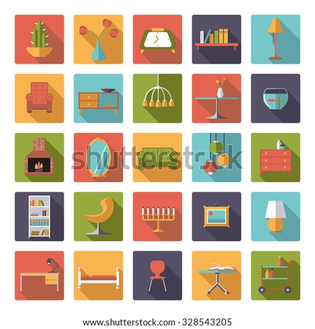 Home Interior Flat Design Vector Icons Collection. Set of 25 interior, furniture and home decoration icons in rounded squares, flat design, long shadow - stock vector