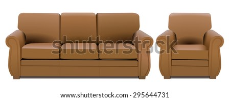 Home interior furniture, 3d nice modern sofa and armchair. Luxury bright brown color leather three seater and arm chair, realistic design, vector art image illustration, isolated on white background - stock vector