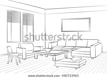 Home Interior Furniture With Sofa Armchair Table Living Room Drawing Design Engraves