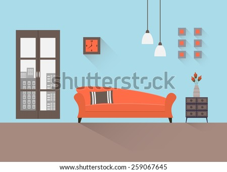 Home interior. Interior design of a living room for web site, print, poster, presentation, infographic. Flat design illustration.  - stock vector