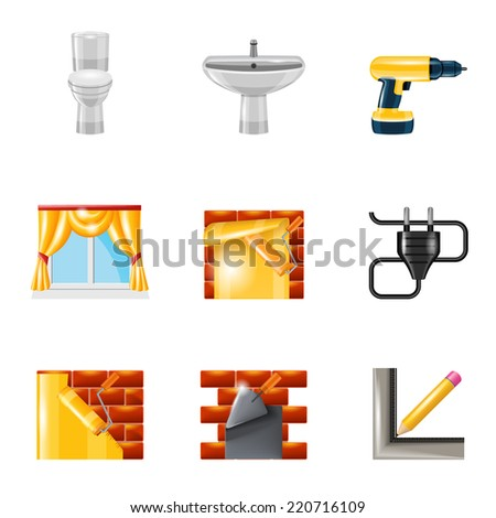 Home interior repair icons set with wallpaper roller trowel joiner isolated vector illustration - stock vector