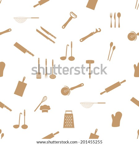 home kitchen cooking utensils seamless pattern eps10 - stock vector