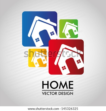 home labels over gray background vector illustration - stock vector