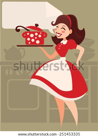 Home made cooking in retro style - stock vector