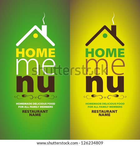 Home Menu Design template - stock vector