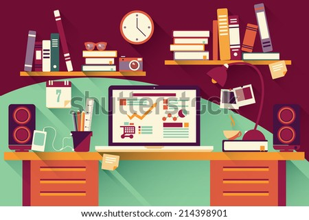 Home office desk - flat design, long shadow, work desk, computer and stationery - stock vector