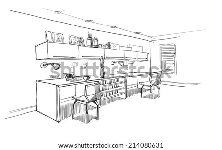Interior Design Office Sketches illustration open space office interior design stock vector